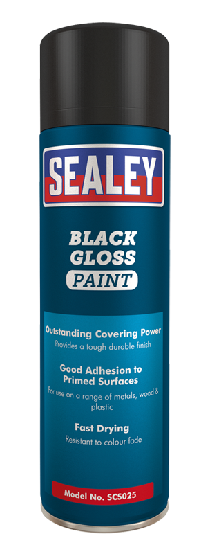 Sealey SCS025 Black Gloss Paint 500ml Pack of 6